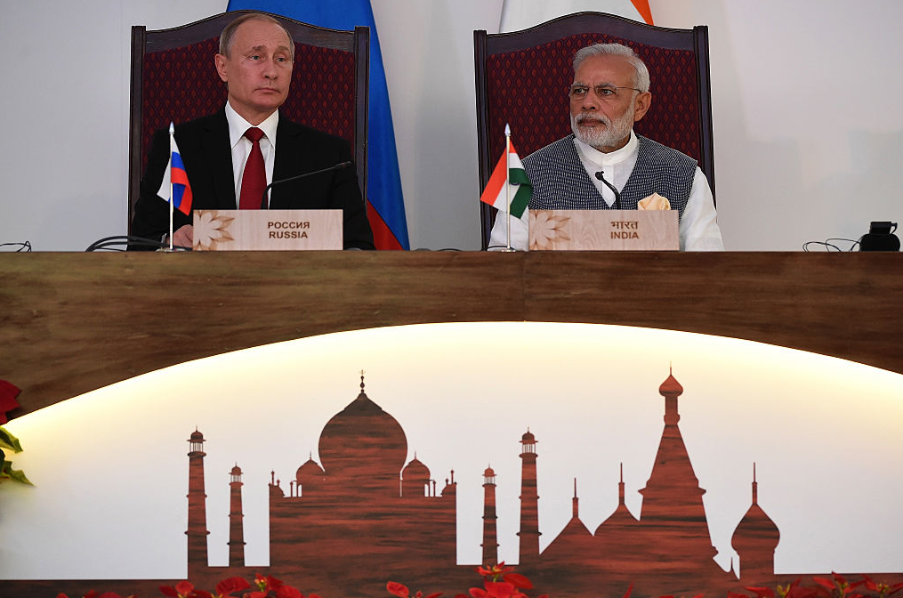 Russia's President Vladimir Putin (L) and Prime Minister Narendra Modi at the Indo-Russia Annual Summit at Taj Exotica hotel in Goa on October 15, 2016. Modi and Putin have signed lucrative defence and energy pacts following talks aimed at reinvigorating ties between the former Cold-War allies. (Prakash Singh/AFP/Getty Images)