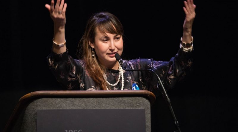 Megan Alvanna-Stimpfle delivers the emerging leader keynote address on the first day of the Alaska Federation of Natives convention in Fairbanks on Thursday. (Loren Holmes / Alaska Dispatch News)