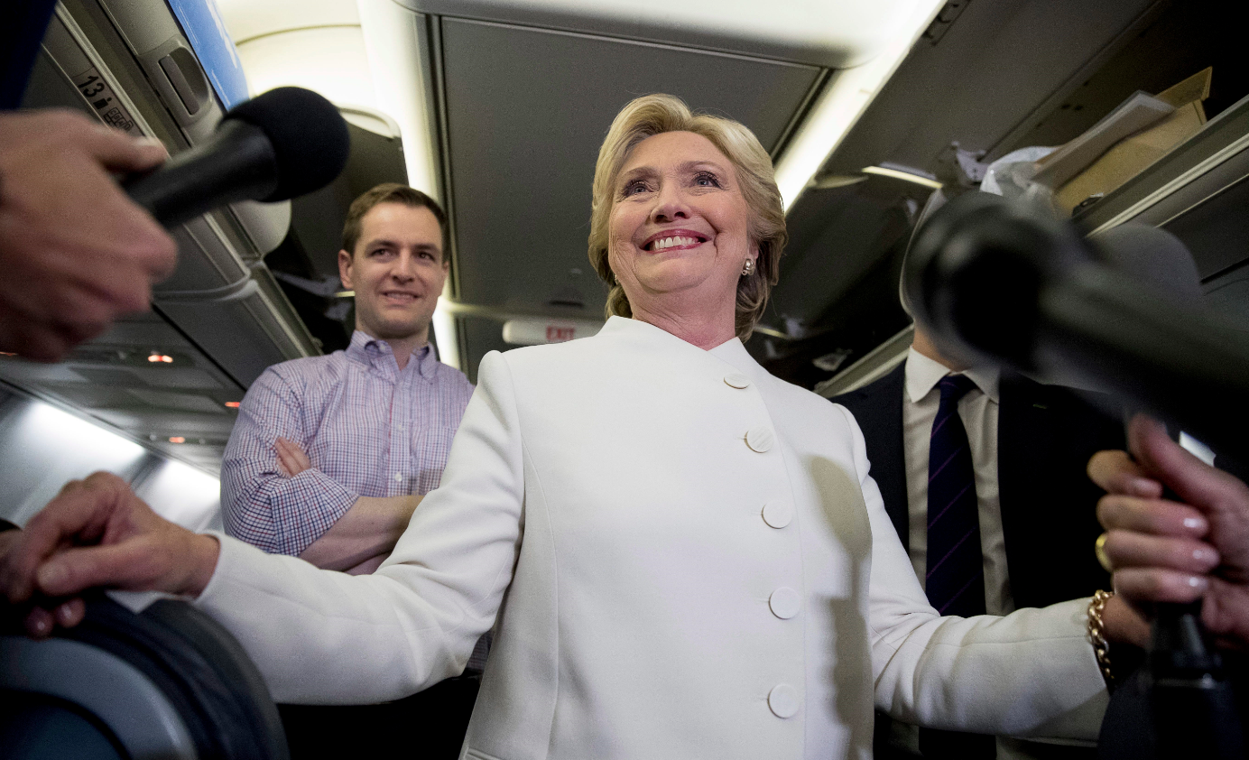 Democratic presidential candidate Hillary Clinton on her campaign plane following the third presidential debate in Las Vegas on October 19, 2016. (Andrew Harnik/AP)