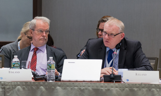 Finnish SAO Aleksi Härkönen (left) and Icelandic SAO Arni Thor Sigurdsson (right). Finland presented their upcoming chairmanship priorities to the Arctic Council gathering in Portland, Maine this week. ( Linnea Nordström/Arctic Council Secretariat)