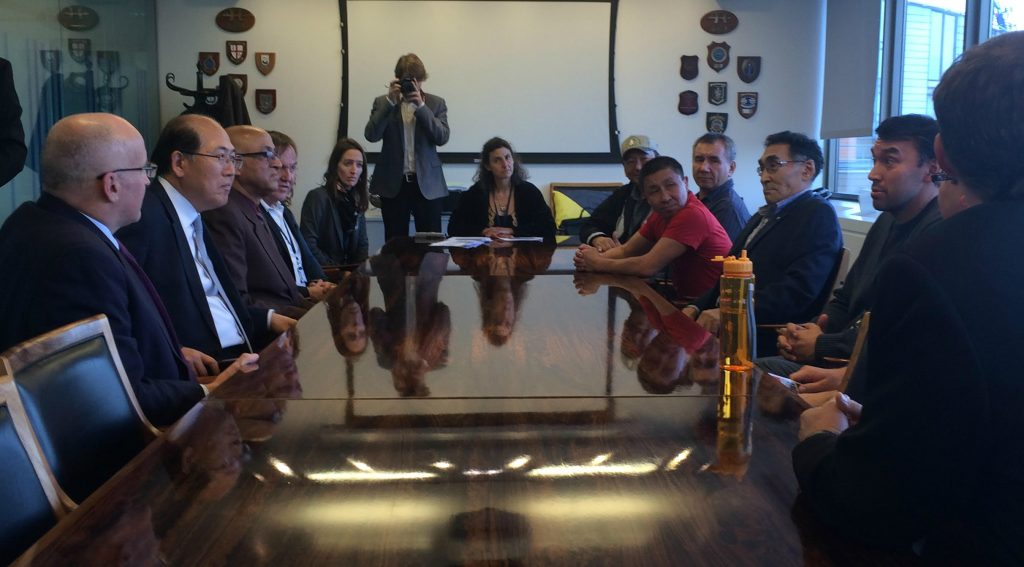 Six Arctic Indigenous leaders and representatives of environmental groups meet with IMO Secretary General Kitack Lim in London. Oct. 25, 2016. (Photo courtesy of Andrew Dumbrille)