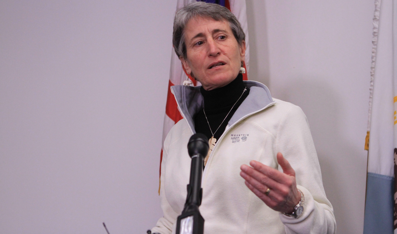 U.S. Interior Secretary Sally Jewell answers questions at a news conference in Alaska in 2015. (Dan Joling/AP)