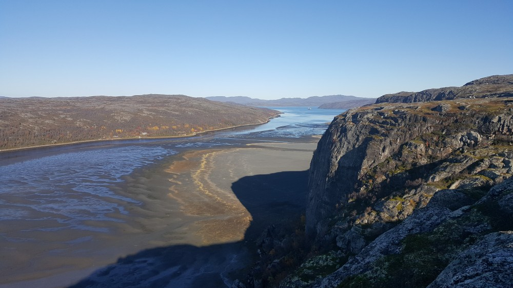 Langfjorden, a kilometre from the centre of Kirkenes on Norway's Barents Sea coast, is filled up with tailings from the iron-ore processing plant. (Thomas Nilsen/The Independent Barents Observer)