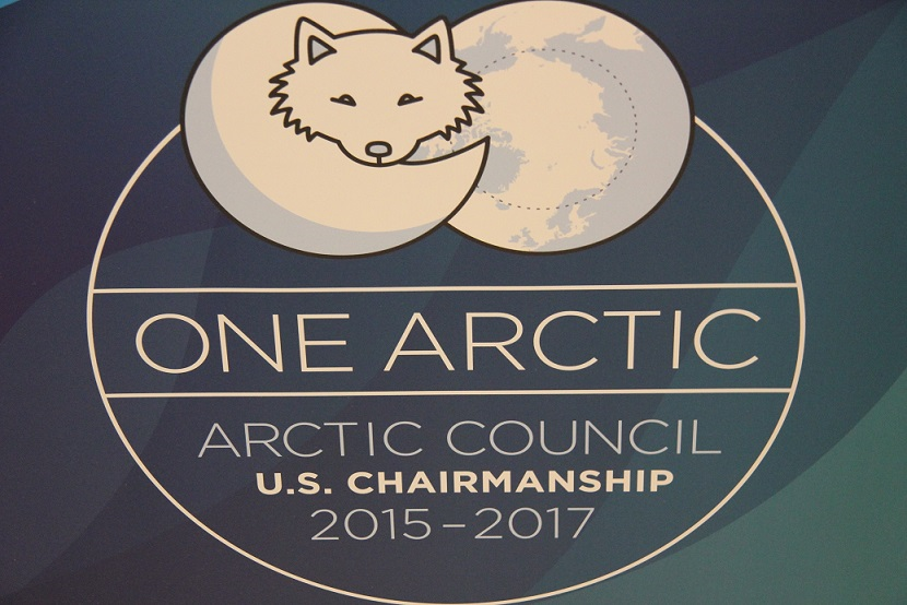 An Arctic Council banner at the Senior Arctic Officials meeting in Portland, Maine. (Eilis Quinn/Eye on the Arctic)