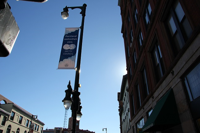 Signs have been hung all over Portland, Me. welcoming the Arctic Council to the city. (Eilis Quinn/Eye on the Arctic)