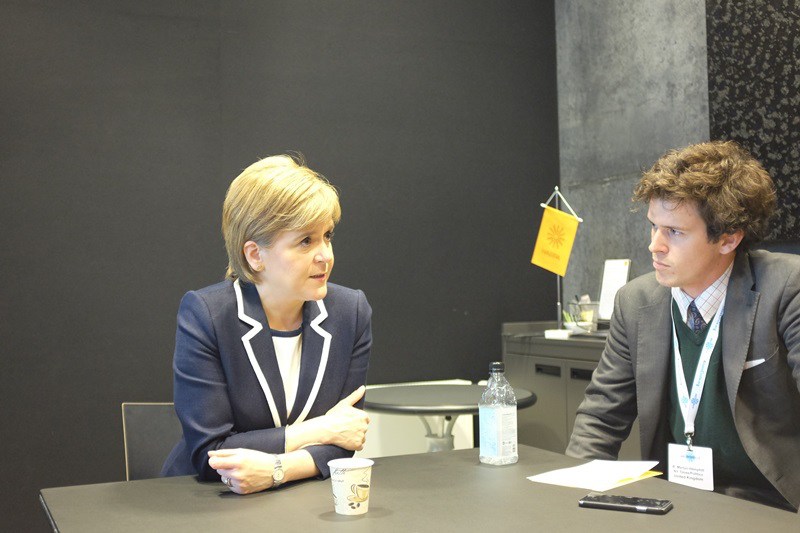 First Minister of Scotland Nicola Sturgeon meets with journalists at a press roundtable at Arctic Circle in Reykjavik, Iceland. (Mia Bennett)