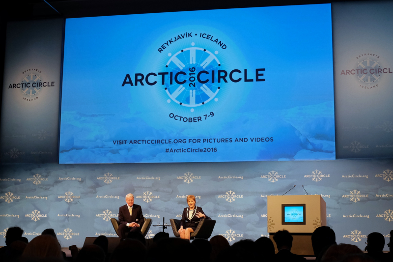 First Minister of Scotland Nicola Sturgeon addresses the audience at Arctic Circle with Iceland's former president, Olafur Ragnar Grimsson, moderating. (Mia Bennett)