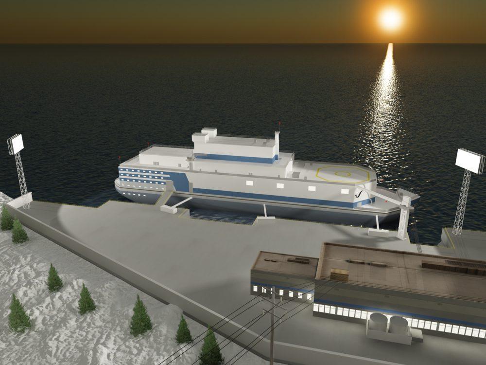 Artist's rendering of the Akademik Lomonosov floating nuclear power and heating plant for the Chukotka town of Pevek. (http://stock.rosenergoatom.ru/)