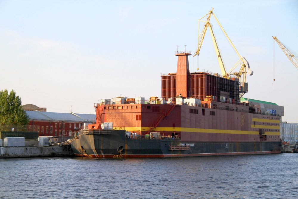 The Akademik Lomonosov the world's first floating NPP, to be ready for transportation to Pevek by 2018. (http://stock.rosenergoatom.ru/)