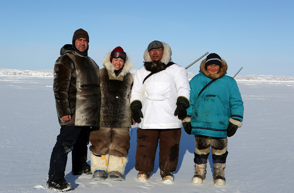 Alethea Arnaquq-Baril (second from the left) says she hopes her film will break deep-held stereotypes created by decades of well-funded anti-sealing campaigns. (Qajaaq Ellsworth)