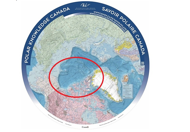 The Circumpolar North Map from Natural Resources Canada. Arctic blogger Heather Exner-Pirot marks the questionable boundry line. View original map here: https://www.canada.ca/content/dam/institutions/polar-knowledge/pdf/arctic_map.pdf