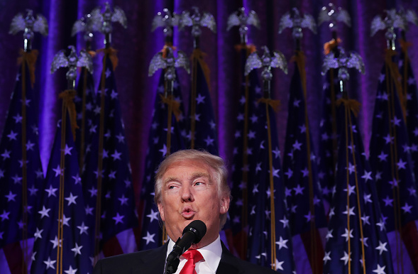 Republican president-elect Donald Trump delivers his acceptance speech during his election night event in New York City in the early morning hours of November 9, 2016. What are the implications of Trump's election for the Arctic? (Chip Somodevilla/Getty Images)