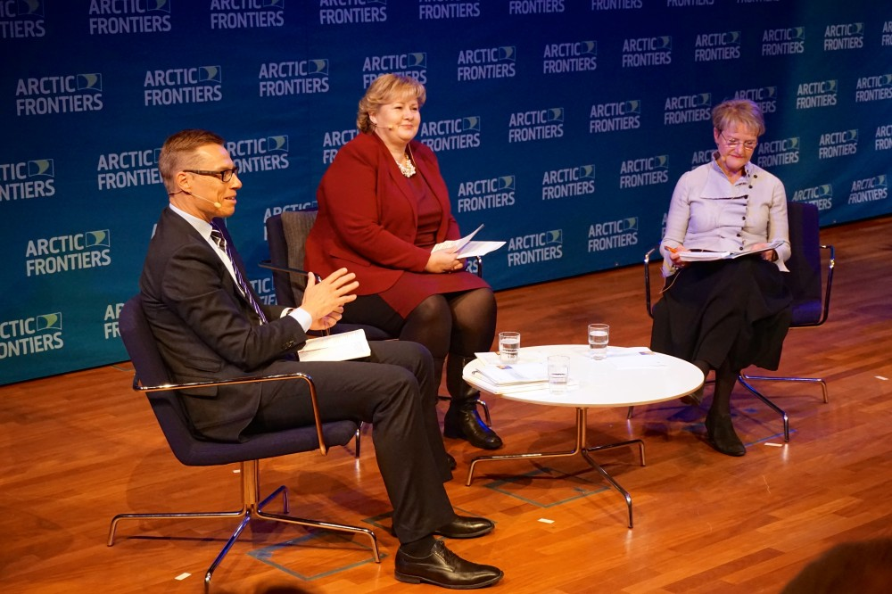 Norway's Prime Minister Erna Solberg in armchair debate with Finland's then-Prime Minister Alexander Stubb and Sweden's then-Minister for Strategic Development Kristina Persson at Arctic Frontiers in 2015. (Thomas Nilsen/The Independent Barents Observer)