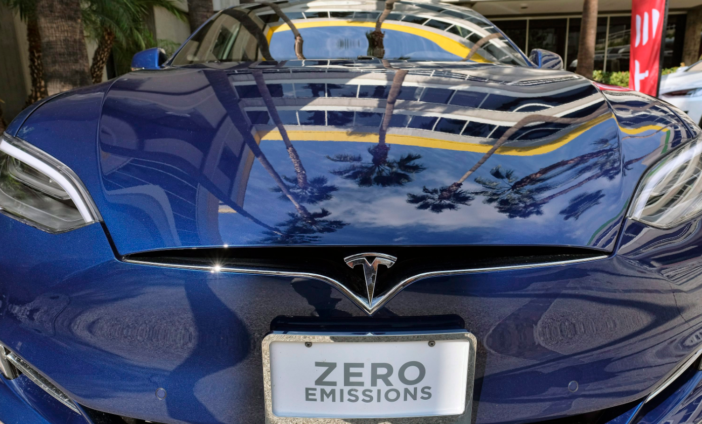 A Tesla Model S on display in downtown Los Angeles in 2016. Finland wants to subsidise electric and biogas cars to help boost sales. (Richard Vogel/AP/The Canadian Press)