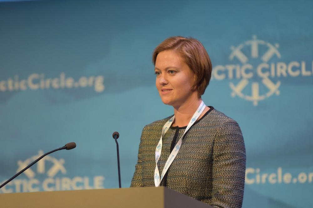 State Secretary Marit Berger Røsland speaking at the Arctic Circle conference in Reykjavik in October. (Thomas Nilsen/The Independent Barents Observer)