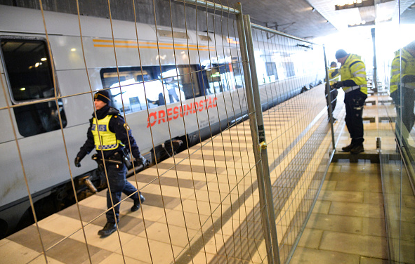A temporary fence is erected between domestic and international tracks at Hyllie train station in southern Malmo, Sweden, on January 3, 2016, to ease border control preventing illegal migrants to enter Sweden. The station is the first stop after crossing the Oresund Bridge from Denmark. (Johan Nilsson/TT/AFP/Getty Images)