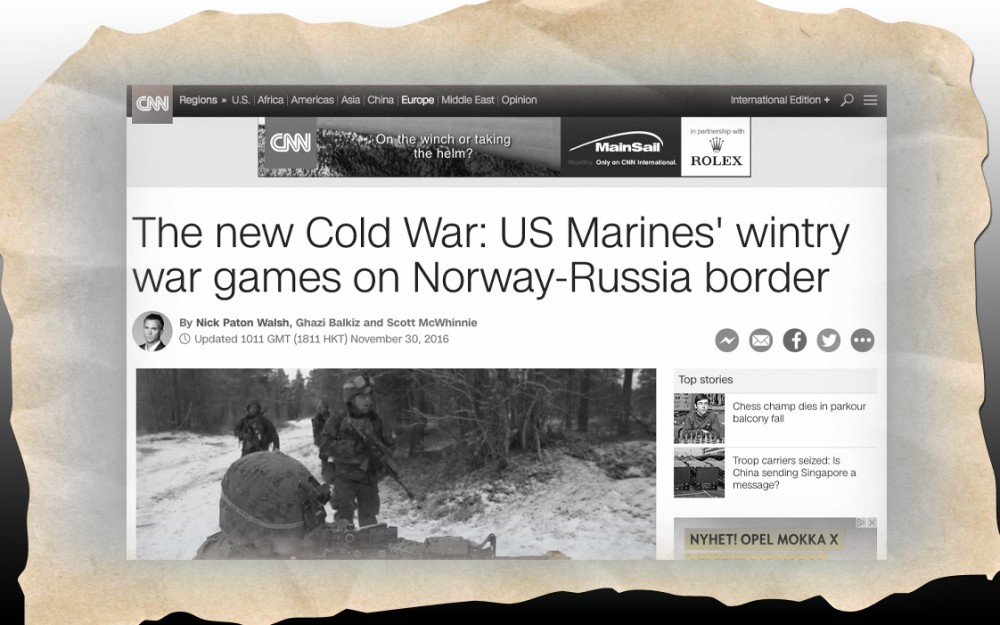 Screenshot of the CNN web article from November 30 claiming US Marines train on Norway's border to Russia. The headline was changed a day after. (The Independent Barents Observer)