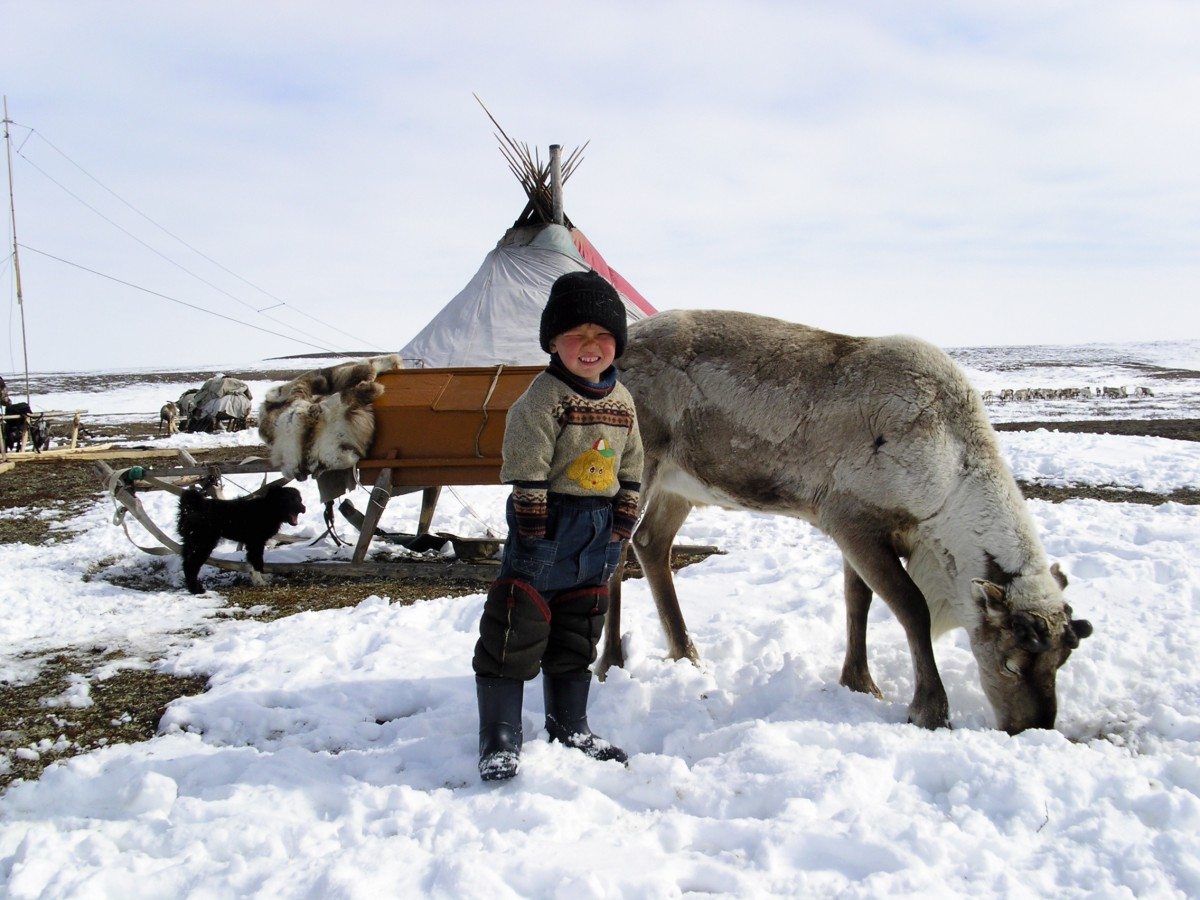 A proud Nenets boy with his reindeer on the tundra. (Thomas Nilsen/The Independent Barents Observer)