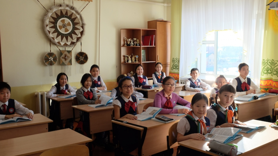 Schoolchildren learning about traditional Yakut culture in a school in Namtsy, a village north of Yakutsk, in Russia. (Mia Bennett)