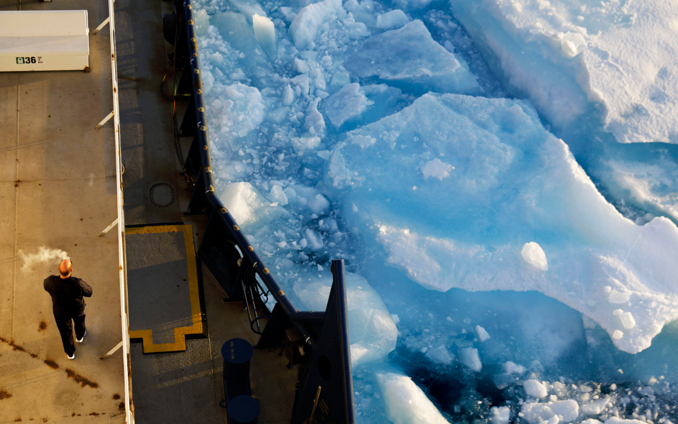Sea ice breaks apart by the passing of the Finnish icebreaker MSV Nordica as it traverses the Northwest Passage through the Victoria Strait in the Canadian Arctic Archipelago Friday, July 21, 2017. Scientists believe there is no way to reverse the decline in Arctic sea ice in the foreseeable future. Even in the best-case scenario envisaged by the 2015 Paris climate accord, sea ice will largely vanish from the Arctic during the summer within the coming decades. (David Goldman/AP/via The Canadian Press)