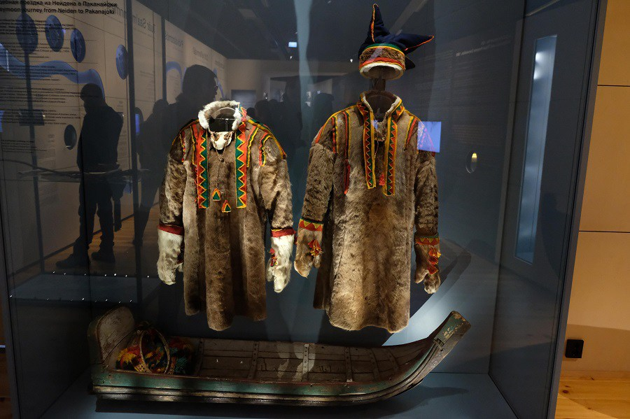Clothing worn by Skolt Sami on their honeymoon on display at the museum. (Mia Bennett/Cryopolitics)