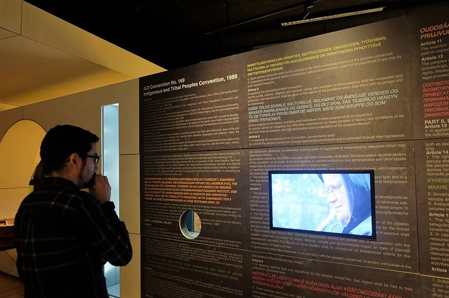 A display on ILO 169, the Indigenous and Tribal Peoples Convention (which Norway has signed, but Finland, Sweden, and Russia have not), at the museum. (Mia Bennett/Cryopolitics)