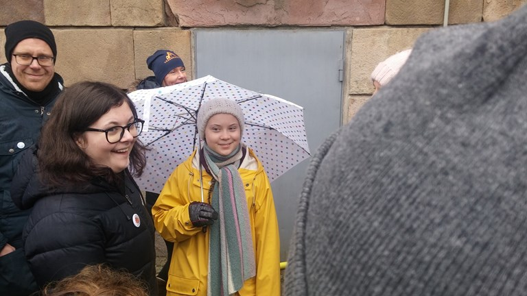 The teenager who started it all. Greta Thunberg outside the Swedish parliament on Friday the 15th March as she was joined by thousands of people echoing her call for politicians to do more to fight climate change. (Simon Linter/Radio Sweden Ekot)