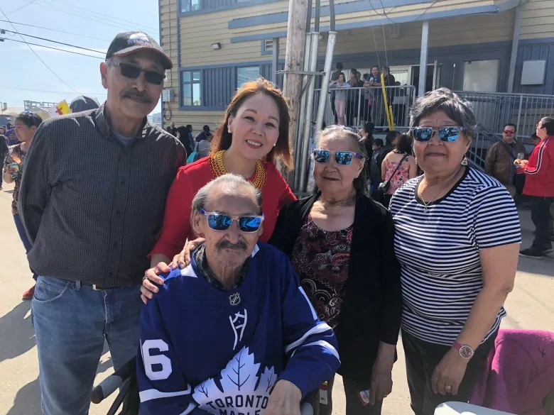 Madeleine Allakariallak, host of CBC's Igalaaq, poses with Paul Quassa, MLA for Aggu, far left, John Amagoalik, known to many as the 'Father of Nunavut,' Evie Amagoalik and Elisapie Quassa. (Madeleine Allakariallak/CBC)