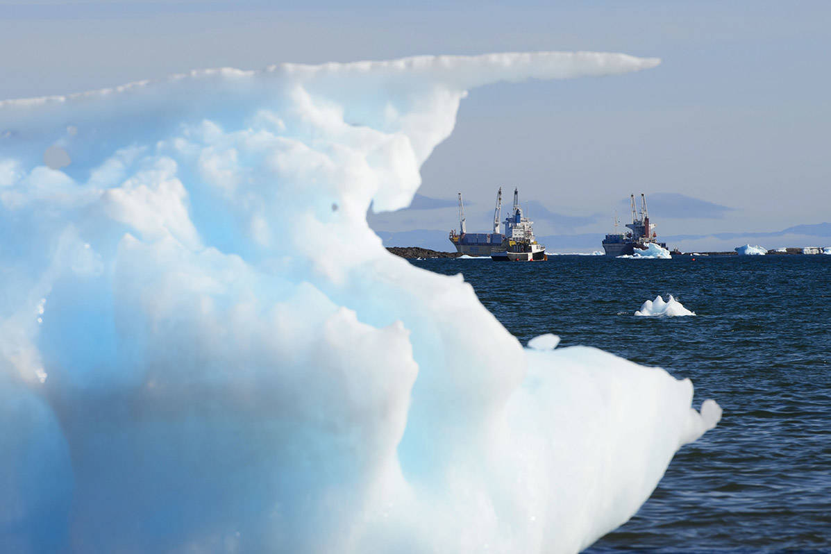 Ships located just outside of the city of Iqaluit in Canada's eastern Arctic. (Sean Kilpatrick/The Canadian Press)