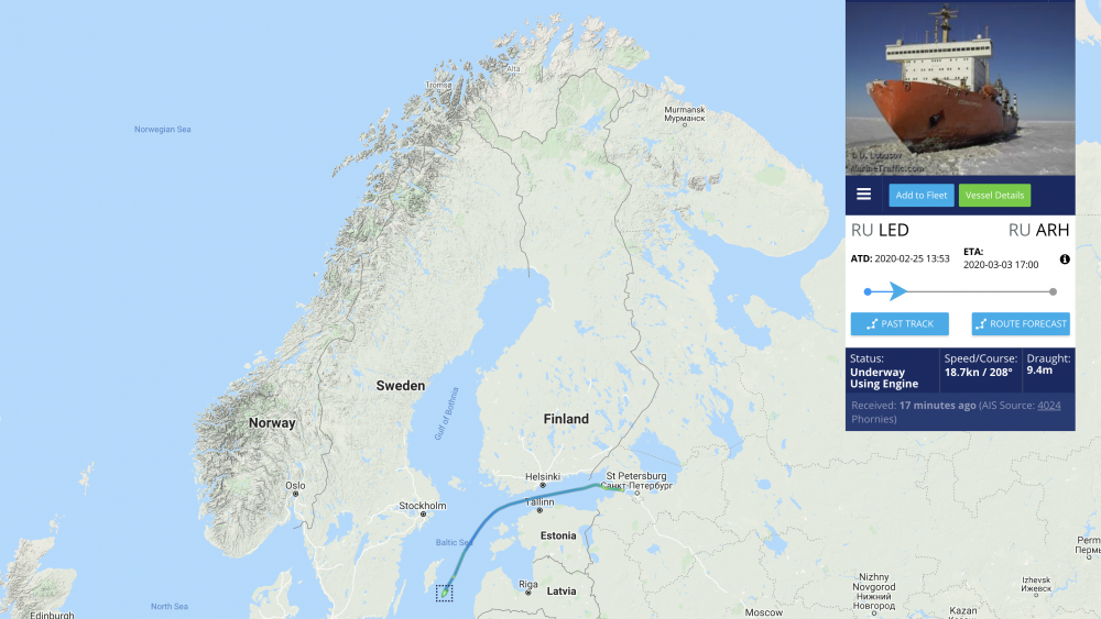 Russian nuclear-powered cargo ship en route around Scandinavia