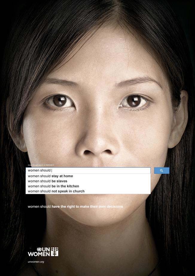 Affiche publicitaire de Femmes ONU, dénonçant   le sexisme sur la Toile