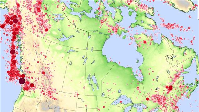 Séismes au Canada en 2012.