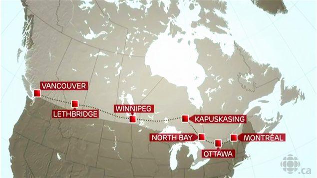 Étinéraire du premier vol civil avec passagers entre Montréal et Vancouver en 1939.