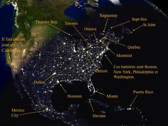 La nuit vu de l'espace, le sud-est du Canada où vit 85 % de la population ressemble à un collier de perles extrêmement brillant
