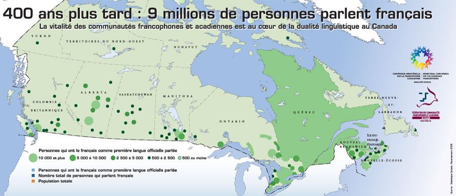Carte préparée par la Fédération des communautés francophones et acadienne du Canada.