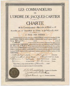 Charte de la Commanderie Alexandre-A.-Taché (Edmonton, Alberta) de l'Ordre de Jacques Cartier. Source: Université d'Ottawa