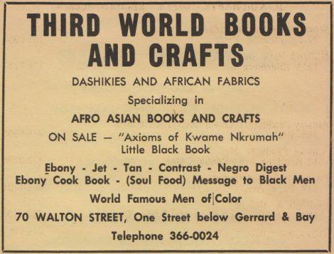 Publicité de la librairie Third World Book Store au cours des années '&).