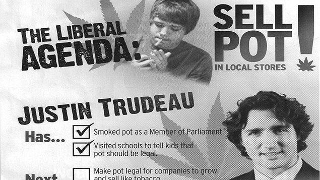Un dépliant du Parti conservateur prétendait durant la récente campagne électorale que « l'agenda libéral, c'est de vendre du pot dans les dépanneurs ».
