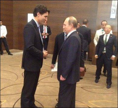 Justin Trudeau et Vladimir Poutine en Turquie en novembre dernier - Facebook