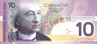 Spécimen, 10$ canadien (Monnaie royale du Canada)