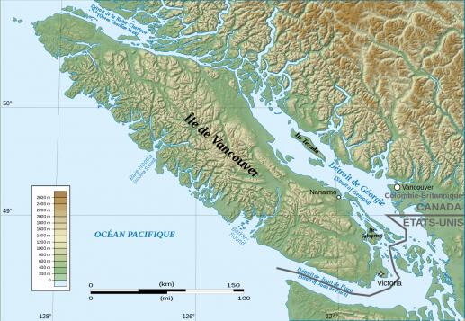 L'île de Vancouver fait 4 fois la Corse en superficie et est habitée seulement au sud, dans la région de Victoria, la capitale de la Colombie-Britannique - United States Geological Survey