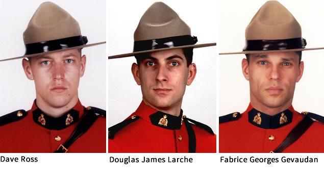 Les trois policiers tués à Moncton : Dave Ross, Douglas James Larche et Fabrice Georges