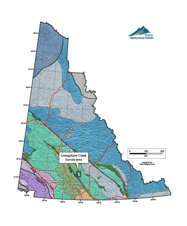 Les recherches étaient concentrées dans la zone de Livingstone Creek (Société géologique du Yukon)