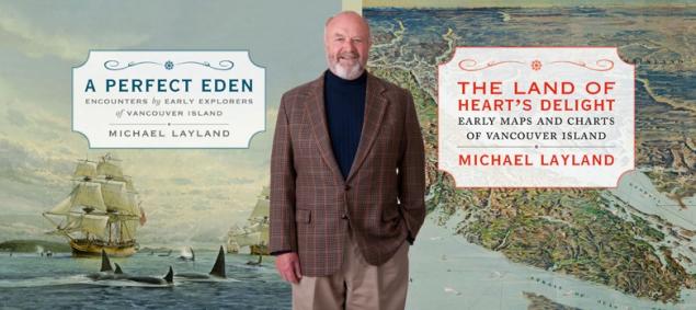 Michael Layland avec les images de ses deux livres sur l'Île de Vancouver, ses explorateurs, ses habitants passés et sa cartographie.