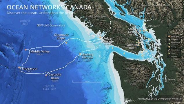 Région de déploiement des détecteurs de tremblement de terre par le Oceans Networks Canada | Image : Oceans Networks Canada