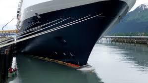 Carcasse de baleine harponnée par la proue d'un navire (Radio-Canada)