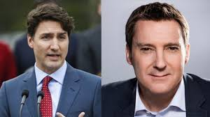 Le premier ministre canadien, Justin Trudeau et le journaliste et chef d'antenne, Patrice Roy (Radio-Canada)