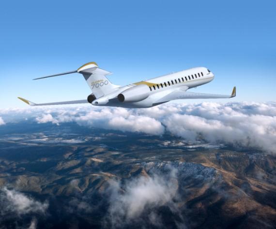 Représentation d'un Global 7000 en plein vol. Crédit : Bombardier