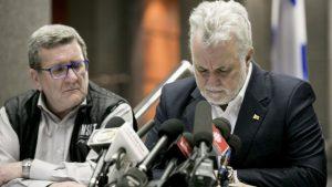 Régis Labeaume et Philippe Couillard en point de presse Photo : Radio-Canada/Maxime Corneau