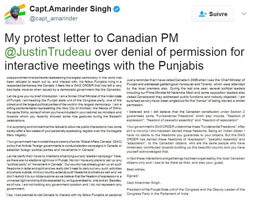 Letttre de protestation d'Amarinder Singh
